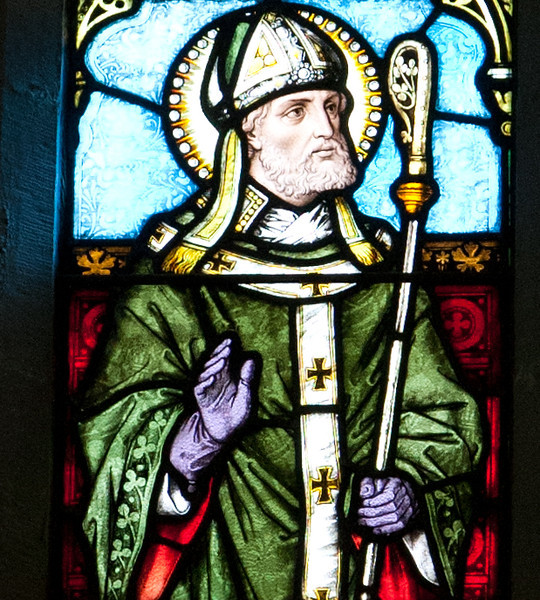 Detail from stained glass church in Co. Mayo. Image is of St. Patrick